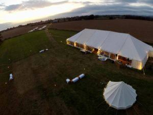 Rectory Farm Meadow aerial view of wedding from hot air balloon