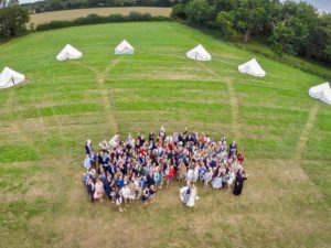 Rectory Farm Meadow aerial view of wedding party from hot air balloon